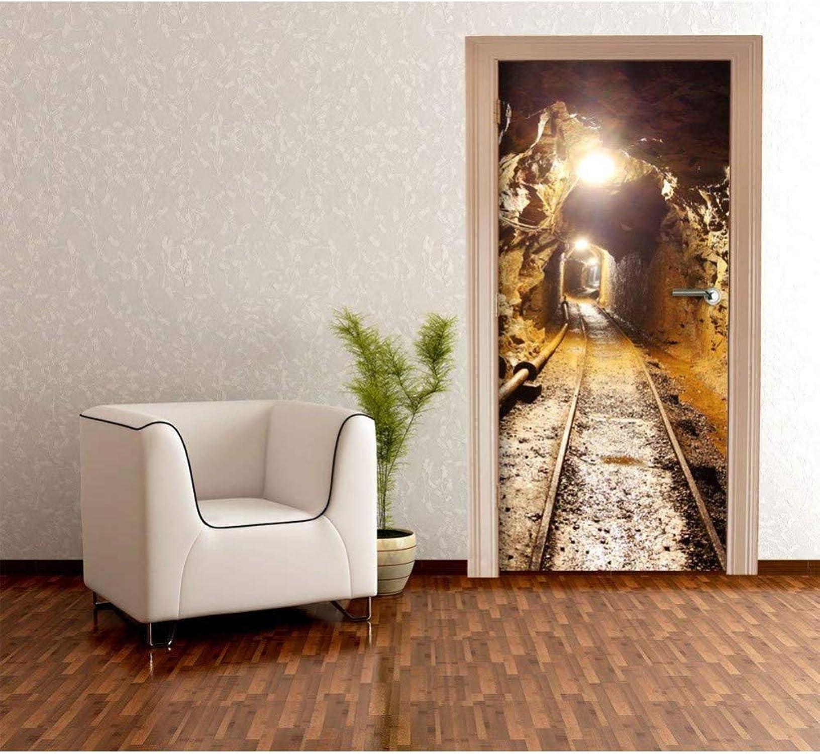 barato y de alta calidad QTZLKF Pegatina De Parojo Puerta Mural Túnel Túnel Túnel Etiqueta De La Puerta PapelTapiz3DDeco Wall Envoltura De Puerta Autoadhesiva  la mejor oferta de tienda online