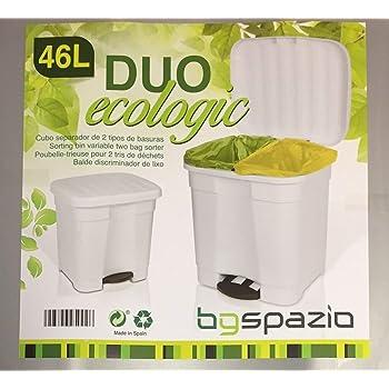 1 Papelera Rectangular de pl/ástico con bot/ón de presi/ón y Doble Compartimiento de 12 litros para Reciclaje de residuos Suppyfly Blanco