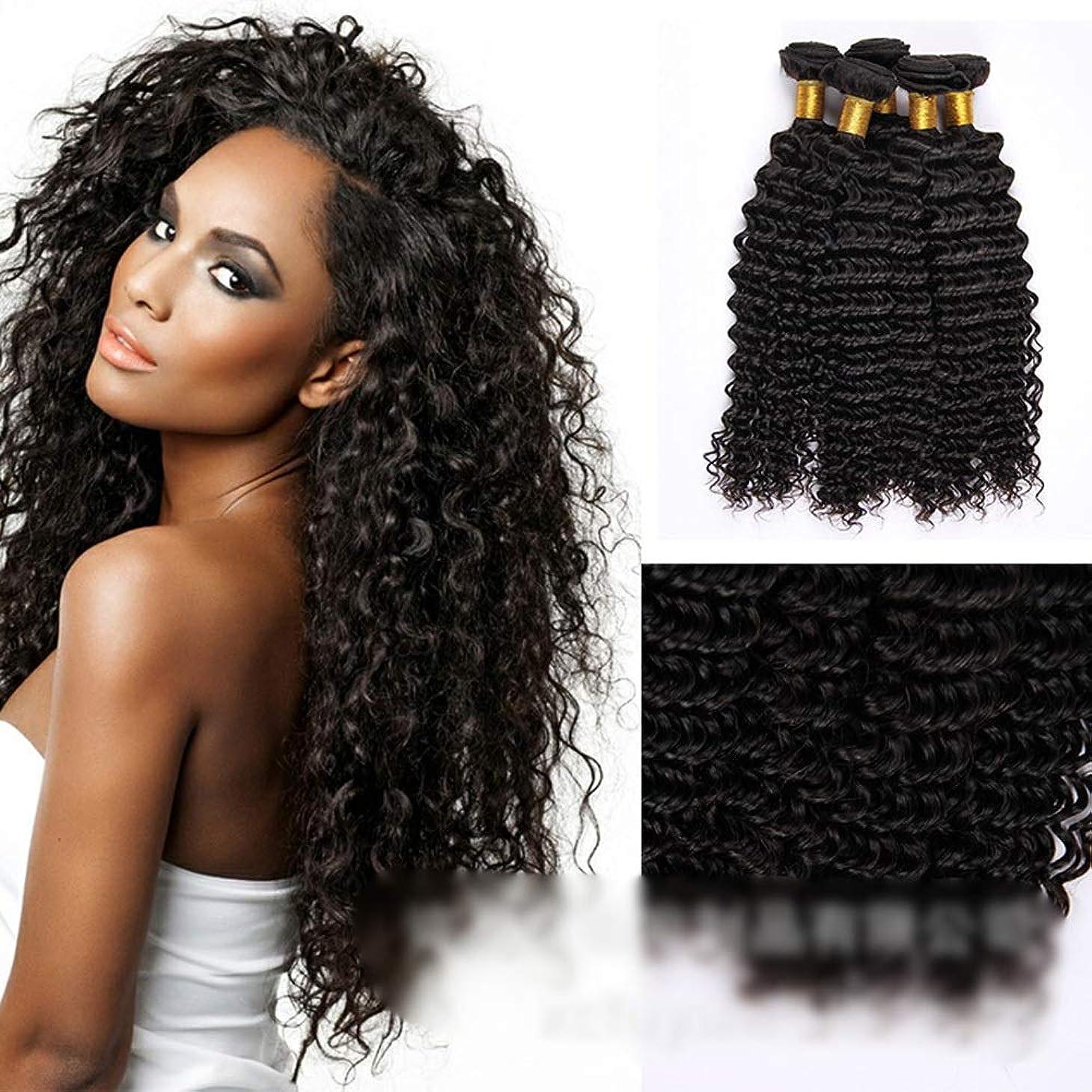 意味のある馬鹿げた乗り出すYESONEEP ブラジルの深い巻き毛の束100%未処理の人間の髪の毛の織り方自然な黒色の髪の拡張子(1バンドル、10