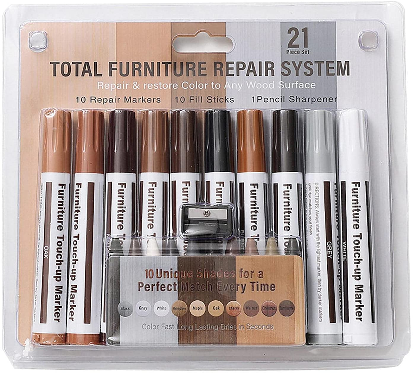 Woodworking Over item quality assurance handling ☆ Furniture Repair Marker Touch 10 Set Color