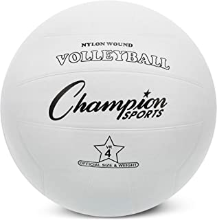 Champion Sports Rubber Volleyball, Official Size, for Indoor and Outdoor Use - Durable, Regulation Volleyballs for Beginners, Competitive, Recreational Play - Premium Volleyball Equipment - White, VR4