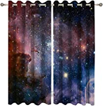 Goodbath Blackout Window Curtains, Outer Space Stars Polyester Window Treatment Drapes for Living Room Bedroom Hotel,2 Pan...
