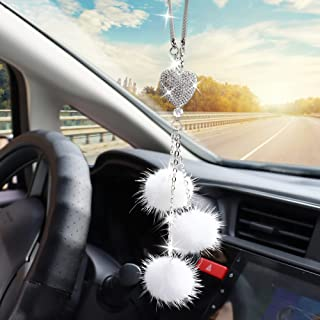 Car Bling Rear View Mirror Hanging Accessories for Women & Men, Rhinestones Diamond Love Heart and White Plush Ball Crysta...