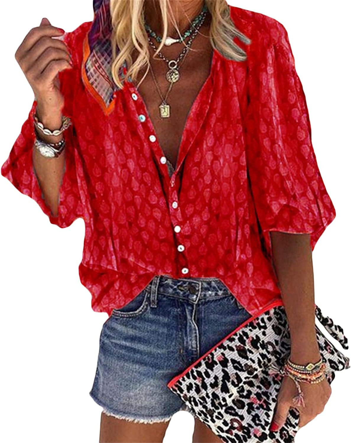 Andongnywell Women's Chiffon Blouses Button Down Shirts V Neck Classic Tops and Tees