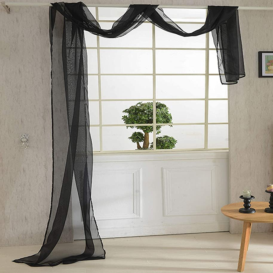 WUBODTI Solid Black Window Panel Sheer Voile Scarf Curtain,Window Treatments for Bedroom Living Room Wedding Beautiful Elegant Home Decoration Luxury Drapes Scarf Valance Curtain,32x216 inch Long