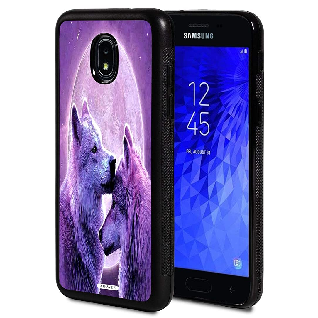 Galaxy J3 2018 Case,AIRWEE Slim Anti-Scratch Shockproof Silicone TPU Back Protective Cover Case for Samsung Galaxy J3 2018,Full Moon Moon and Wolf Wolves