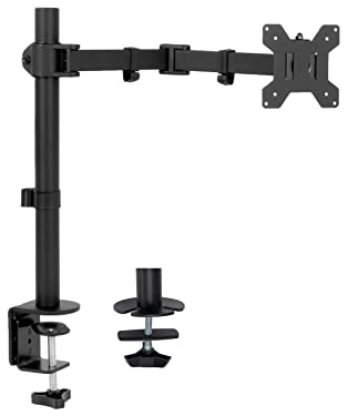 VIVO Full Motion Single VESA Monitor Desk Mount Stand with Double Center Arm Joint, for up to 32 inch Screen, STAND-V101D