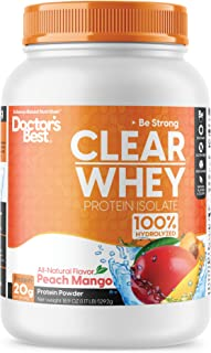 Doctor's Best Clear Whey Protein Powder Great Tasting & Non-Bloating Protein Isolate 100% Hydrolyzed, Muscle, Bone, Heart ...