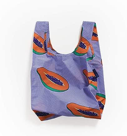 BAGGU Small Reusable Shopping Bag, Ripstop Nylon Grocery Tote or Lunch Bag, Blue Papaya