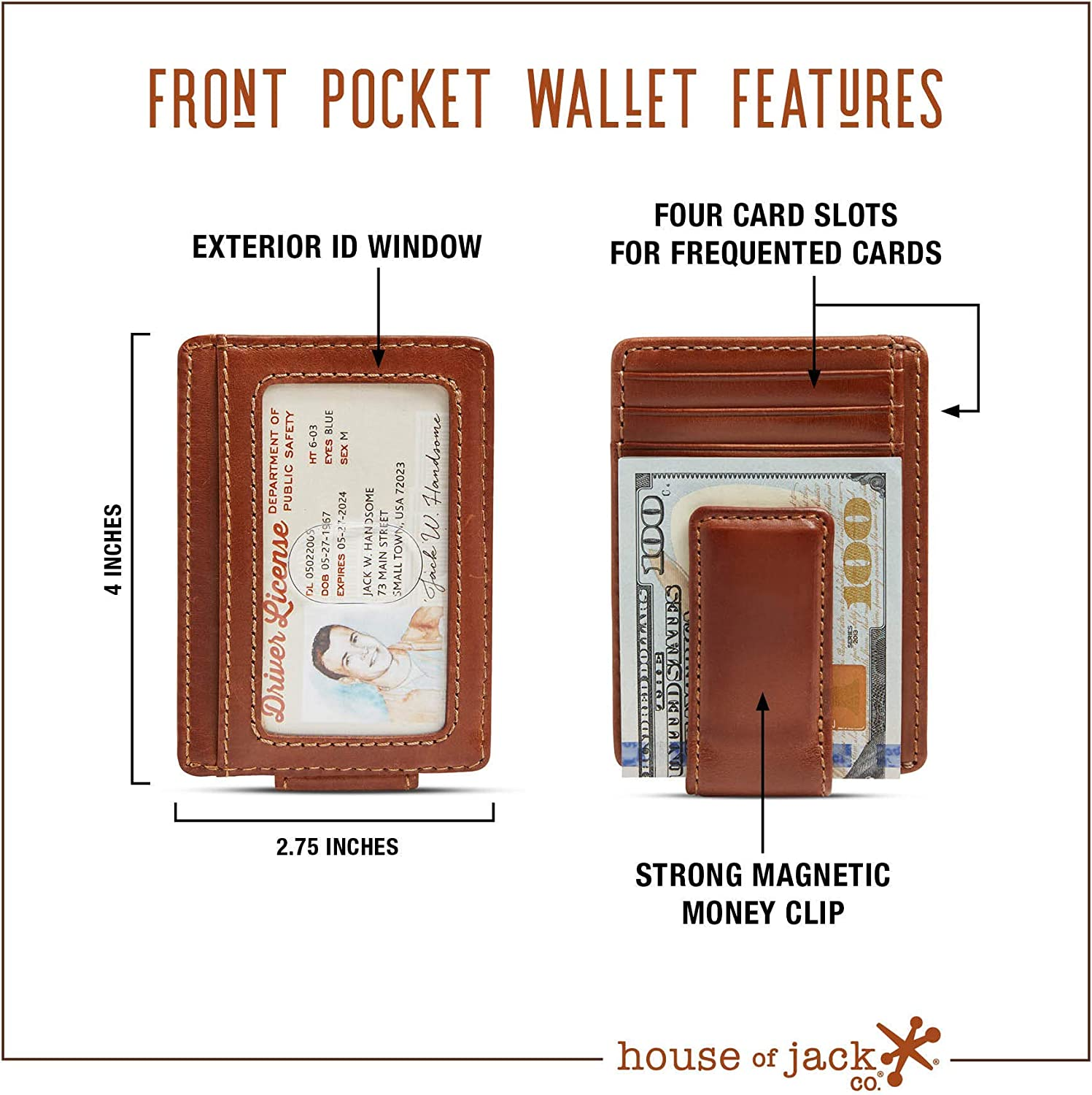CARRYALL Mens Leather Money Clip Wallet-Strong Magnetic Front Pocket Wallet-Exterior ID Window HOJ Co