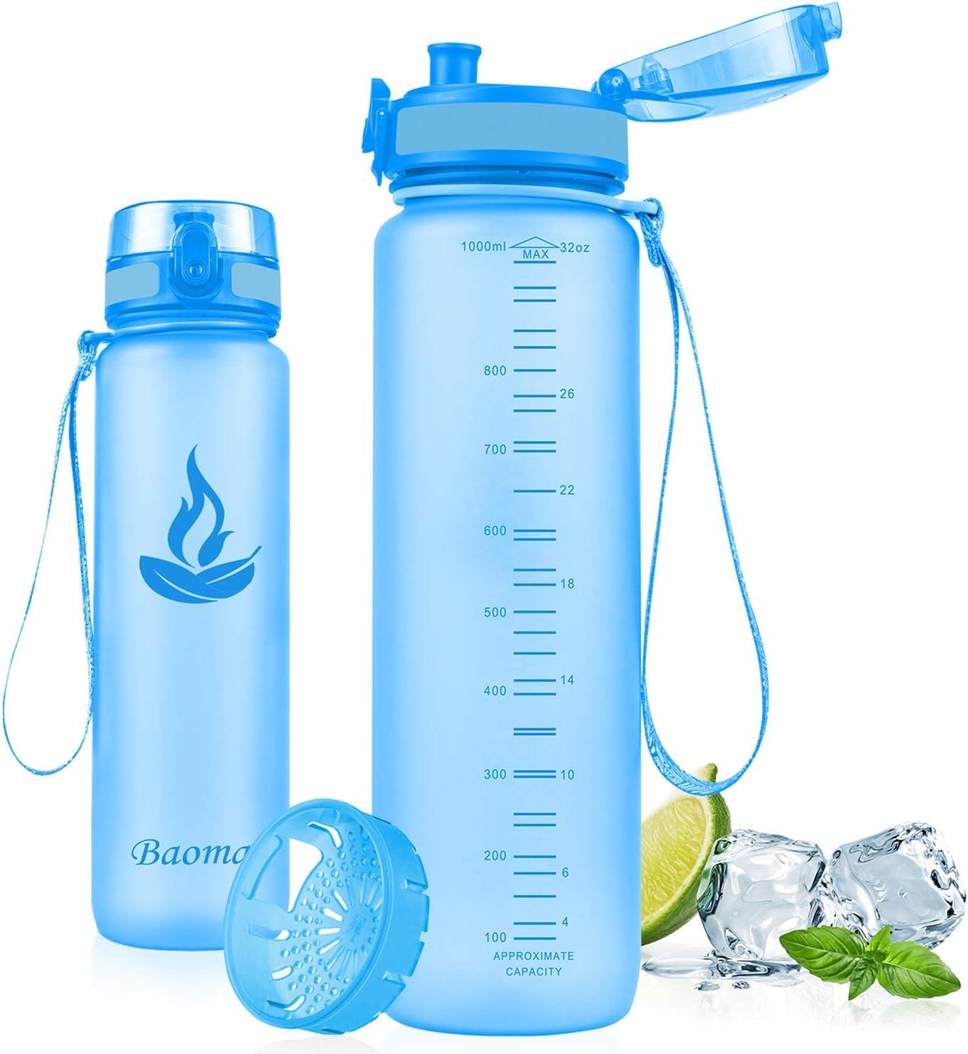 Baomay Botella de Agua Deportiva 500ml 750ml 1000ml, Adultos/Niños Bottle con Filtro, Bidon de Bebidas Plástico Tritan, para Gimnasio, Ciclismo, Trekking   Sin-BPA & Impermeable & Reutilizable