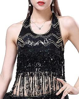 Womens Glitter Sequin Tassel Halter Crop Top Sexy Latin Belly Dance Sequin Bra Party Club Wear Costume