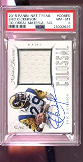 2015 Panini National Treasures Eric Dickerson Colossal Jersey 24/25 AUTO Autograph Card PSA 8