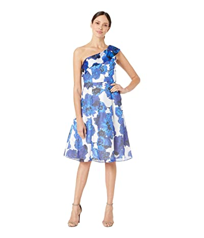Adrianna Papell One Shoulder Fit and Flare Cocktail Dress (Royal/Ivory) Women