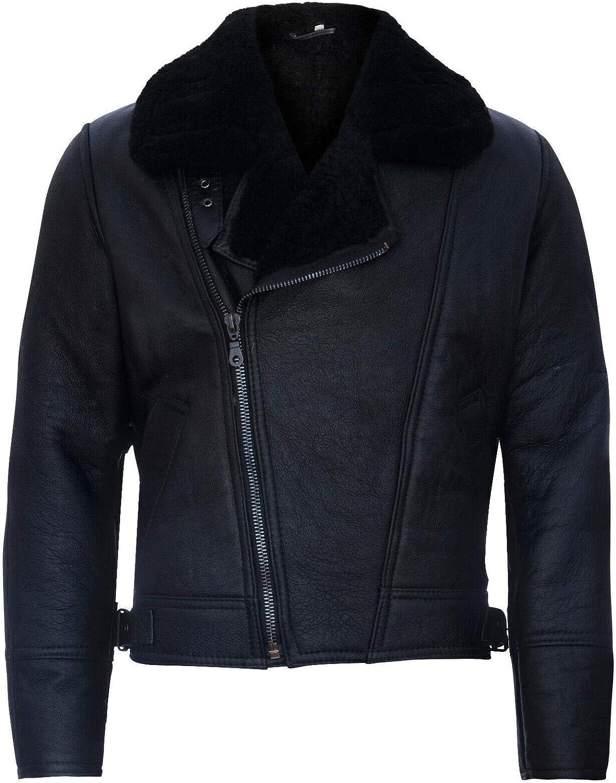 Men's Aviator Cross Zip Shearling Sheepskin Black Leather Jacket