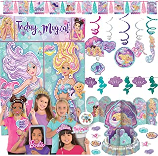 Deluxe Barbie Mermaid Birthday Party Decoration Pack With Barbie Mermaid Scene Setter and Photo Props, Garland, Swirls, Table Decorating Kit, Mermaid Banner, and Exclusive Pin