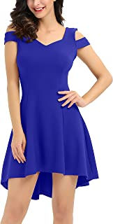 Women's Cold Shoulder High Low Cocktail Skater Dresses for Holiday Party Wedding Guest