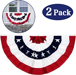 2 Pack American US Flag Bunting Banner July 4th Decorations, 1.5 x 3 Ft Stars & Stripes US Pleated Fan Flag Patriotic Decorations for Indoor Outdoor Porch Window Garden Red White And Blue Decor