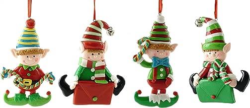 Gerson Santa's Elves Clay Dough Hanging Ornaments - Set of 4