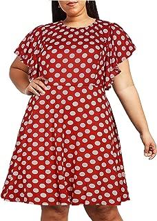 Nemidor Women's Vintage Ruffle Sleeve Party Midi Dress Plus Size Casual Summer Fit and Flare Dress NEM212