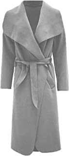 Hina Fashion Women Ladies Italian Waterfall Belted Long Sleeve Coat Jacket Top