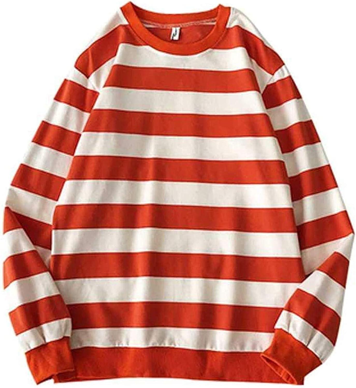 LBJTAKDP Men's Women Casual Cotton Striped Crewneck Cuffed Long-Sleeve T-Shirt Basic Pullover Stripe Blouse tee Shirt