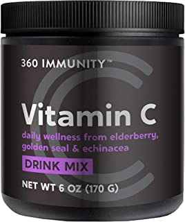 Vitamin C Drink Mix, 360 Immunity, 6 oz | Daily Wellness from Elderberry, Golden Seal, Echinacea & Vitamin C