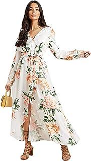 فستان لف طويل بنمط طباعة ازهار مع حزام خصر للنساء