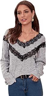 SweatyRocks Women's V Neck Lace Trim Sweater Oversized Long Sleeve Jumper Tops