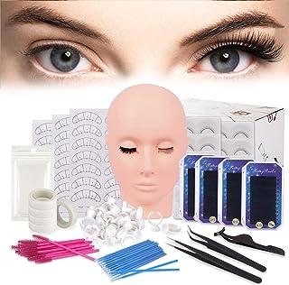 False Eyelashes Extension Practice Exercise Set, TopDirect Flat Mannequin Head Kit for Makeup Training, Eyelash Graft