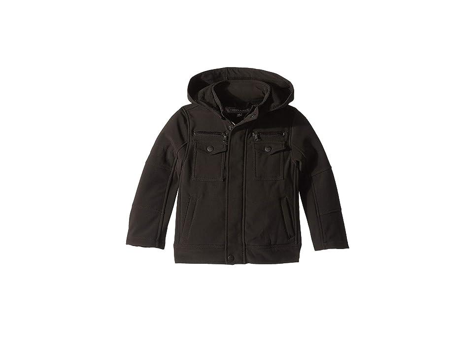 Urban Republic Kids Lennon Softshell Officers Jacket w/ Zip Off Hood (Toddler) (Black) Boy