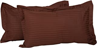 Clasiko 100% Cotton Brown Pillow Covers; Design - Satin Stripes; Size - 17x27 Inches; Color Fastness Guarantee