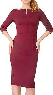 Marycrafts Women's Work Office Business Square Neck Sheath Midi Dress