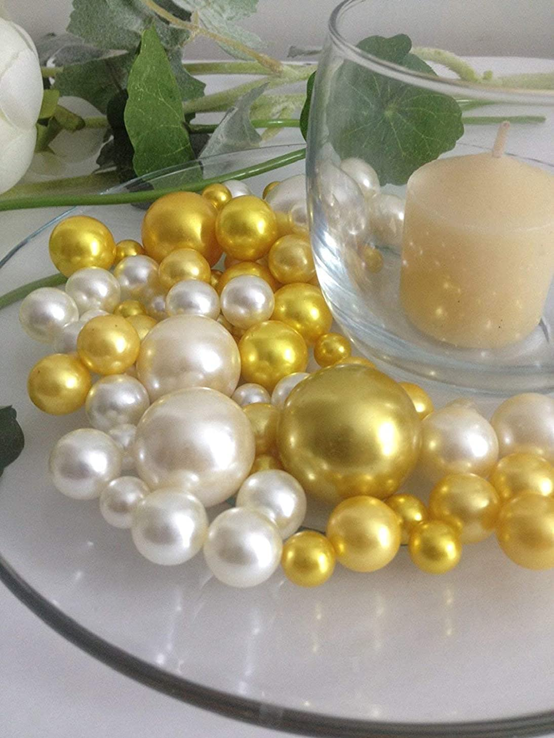 JellyBeadZ Brand Easy Elegance Yellow and White Pearl Beads Including Clear JellyBeadZ Great for Wedding Centerpieces and Decorations