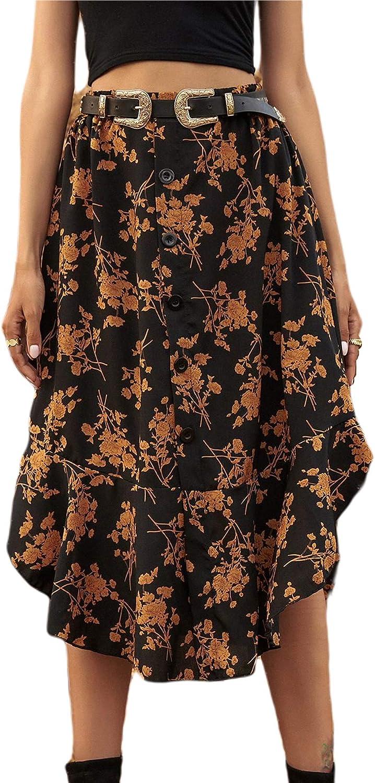 Milumia Women Boho Floral Print High Waisted Button Front Ruffled Hem Vintage Long Skirt Without Belt