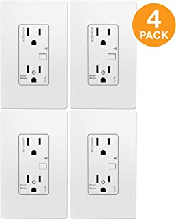 TOPGREENER Smart Wi-Fi Outlet with Energy Monitoring, Tamper-Resistant, Control Lighting and Appliances from Anywhere, in-Wall, No Hub Required, Compatible with Alexa and Google Assistant, 4 Pack