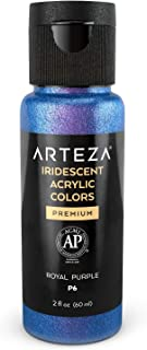 Arteza Iridescent Acrylic Paint P6 Royal Purple, 60 ml Bottle, Chameleon Colors, High Viscosity Shimmer Paint, Water-Based, Blendable, for Canvas, Wood, Rocks, Fabrics