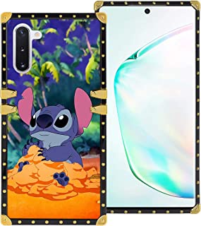 DISNEY COLLECTION Samsung Galaxy Note 10 6.3 Inch 2019 Luxury Phone Case Blue Stitch Beach Square Phone Cover Metal Decoration Corner Shockproof Phone Shell