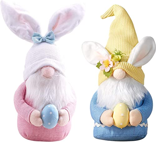 lowest 2 Pcs Easter Bunny Gnome lowest Decoration with Easter Egg, online Handmade Plush Easter Faceless Ornaments Holding Egg, Bunny Gnomes Ornaments, Easter Desktop Bunny Easter Gnome, Indoor Spring Decor, Birthday Gift outlet sale