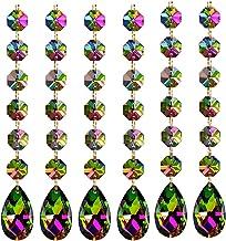 Poproo pingente de gota de cristal octogonal pingente de contas de cristal para lustre decoração de cortina, pacote com 6...