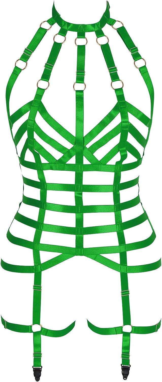 Women's Full Body Harness Bra Garter Belt Set Underwear Full cage Gothic Punk Chest Strap Plus Size Festival Rave