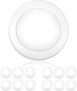 "PARMIDA (12 Pack) 5/6"" Dimmable LED Disk Light Flush Mount Recessed Retrofit Ceiling Lights, 15W (120W Replacement), 3000K, Energy Star & ETL-Listed, Installs into Junction Box Or Recessed Can, 1050lm"