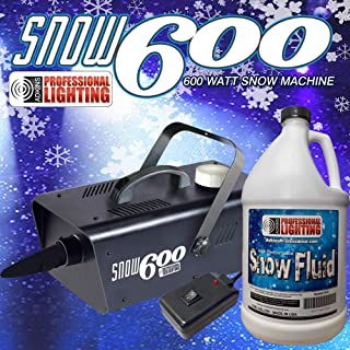 Snow Machine 600 Watt with one gallon of SFG Snow Fluid - High Output. Produces the illusion of real snow. Includes remote control. Let the snow fall all season round!