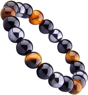 Crystal Vibe Triple Protection Bracelet for Prosperity, Good Luck, Happiness - Beaded Bracelet for Women Men with Natural Stone Tiger's Eye Bracelet, Black Obsidian Bracelet and Hematite Bracelet