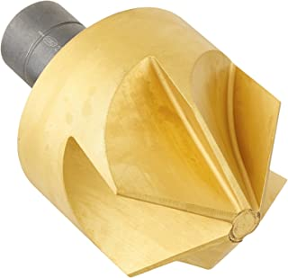 KEO 55595 Cobalt Steel Single-End Countersink, TiN Coated, 6 Flutes, 110 Degree Point Angle, Round Shank, 3/4
