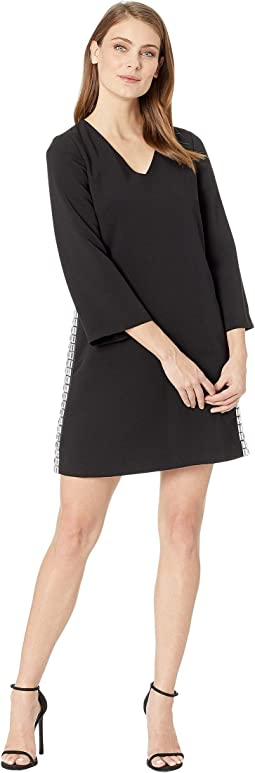 Bell Sleeve V-Neck Crepe Dress