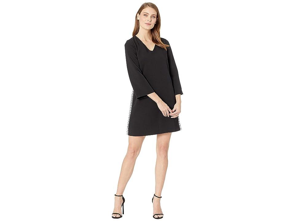 Tahari by ASL Bell Sleeve V-Neck Crepe Dress (Black) Women