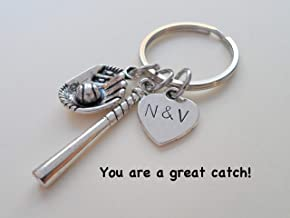 Custom Baseball Keychain with Baseball Mitt & Bat Charm & Stamped Initials Tag; Couples Anniversary Gift