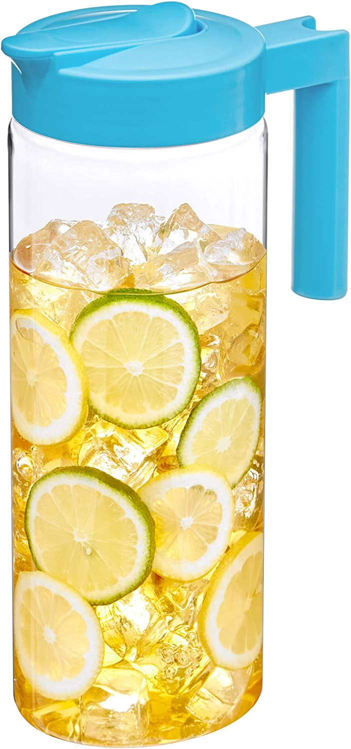 Amazing Abby - Skinny - Tritan Pitcher (64 oz), Unbreakable Plastic Pitcher, BPA-Free, Heat-Resistant, Dishwasher-Safe, Great for Both Iced and Hot Drinks, Indoors and Outdoors, Blue