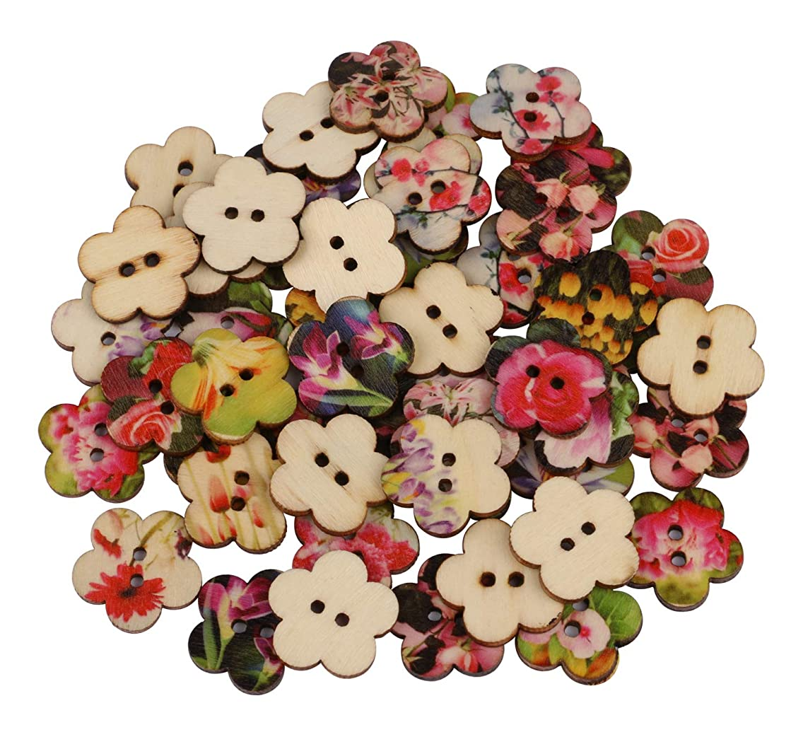 Flower Shaped Buttons, Dedoot Vintage Wooden Flower Buttons 24mm 2 Hole Mix Random for Crafting Sewing Scrapbooking